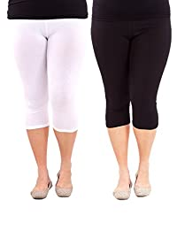 American Trends Women's Plus Size Lightweight 3/4 Length Breathable Leggings