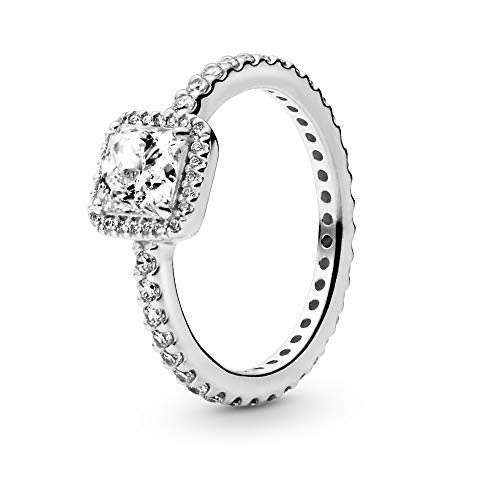 Pandora Jewelry - Square Sparkle Halo Ring for Women in Sterling Silver with Clear Cubic Zirconia, Size 6 US / 52 EURO