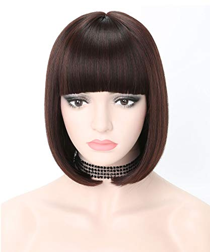 COSYCODE 11 inches Dark Brown Short Bob Wig with Bangs Synthetic Cosplay Wigs for Halloween Party]()