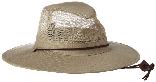 Dorfman Pacific Men's 1 Piece Brushed Twill Mesh Safari Hat With Genuine Leather Trim, Khaki, (Dorfman Pacific Mesh Safari Hat)