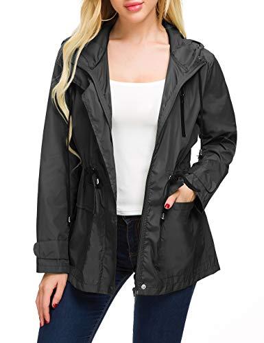 Rain Running Jacket Women Light Raincoat Zip Rain Coat Spring Windbreaker (Black Large)