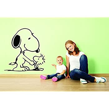 6147a14095 Charlie Brown and Snoopy Wall Vinyl Art Decal Peanuts Cartoon Kids Bedroom  Stickers Decals Childs TV Characters Patty Shermy Snoopy Violet Gray Linus  VAn ...