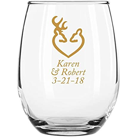 144 Pack Personalized Color Printed 9 Ounce Stemless Wine Glass Deer And Doe Gold