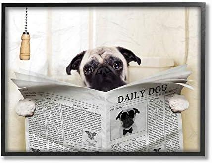 Stupell Industries Pug Reading Newspaper