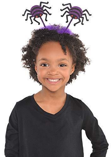 Girls Boys Childrens Purple Black Glitter Spider Bopper Headband Halloween Fancy Dress Costume Outfit Accessory