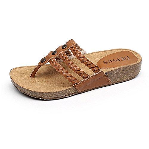 sul Colore CN39 pendenza con facoltativo fondo Estate EU39 con XIAOLIN Sandali dimensioni da in UK6 Pantofole piatte tallone pelle formato donna 0 pelle Pantofole Heel in 4xz7U