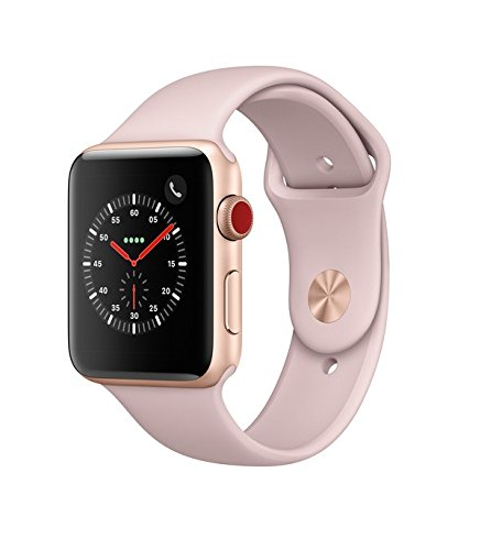 Apple Watch Series 3 42mm Smartwatch (GPS + Cellular, Gold Aluminum Case, Pink Sand Sport Band) MQK32LL/A by Apple