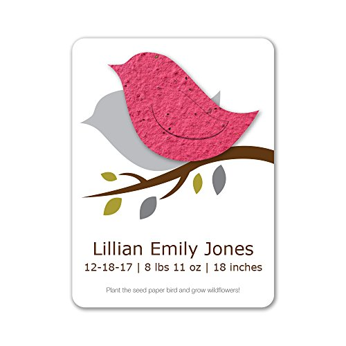 Bloomin Plantable Baby Bird Birth Announcement Favor with Seed Paper - Cranberry {25 Card Set}