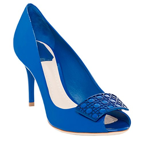 Christian Dior Women's Cannage Plaque Peep-Toe Pumps KCA687 VNI 566 Patent Leather Cobalt 40 M EU