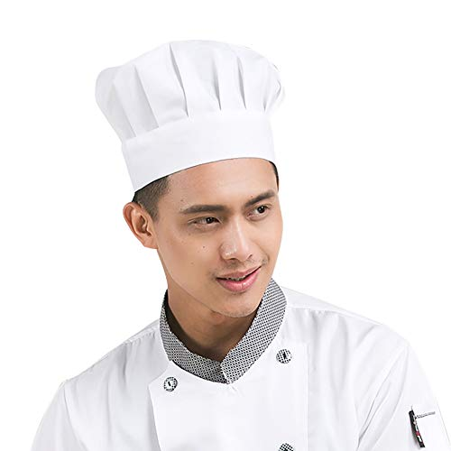 Kids Chef Hat Apron Oversleeves Set Aprons Kitchen Cooking Baking Wear DIY Professional Uniform Children Cosplay (Adult Size, White Cooking Hat) -