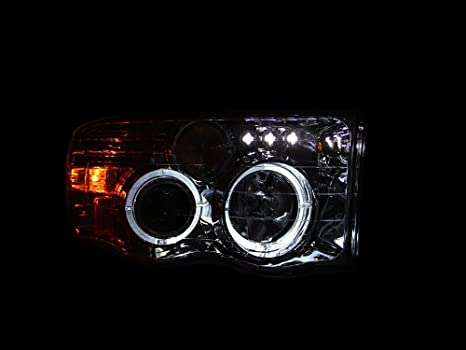 Anzo USA 111197 Chrome Halo Projector Headlight with Clear Lens and Amber Reflector for Dodge RAM