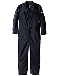 Bulwark Flame Resistant 9 oz Twill Cotton Premium Concealed Snap Coverall, Navy, 48