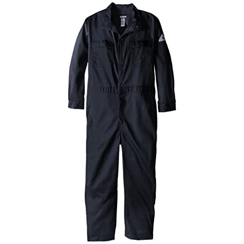 Bulwark Flame Resistant 9 oz Twill Cotton Premium Concealed Snap Coverall, Navy, 44