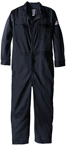 Bulwark Flame Resistant 9 oz Twill Cotton Long Premium Concealed Snap Coverall, Navy, 48 Long by Bulwark FR