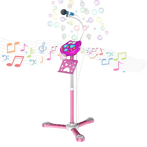 KOMVOX Kids Karaoke Microphone with Stand, Girls Karaoke Machines with Bubble Function, 4 5 6 7 8 Year Old Girls Toy, Birthday Gifts for Girls Children's Microhpnes for Singing by KOMVOX (Image #8)
