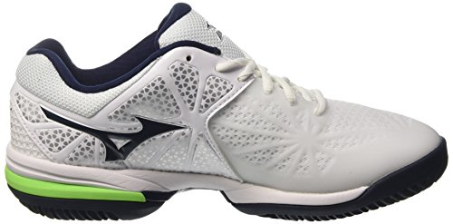 Mizuno Wave Exceed Tour CC, Chaussures de Tennis Homme, Bianco Multicolore (White/Dressblues/Greengecko)