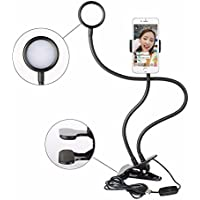 Sokani Led Selfie Ring Light with Flexible clip Phone Holder for Youtube Live Stream Video Chat Live Broadcasting Lazy Bracket Long Arm for iPhone 6 7 Plus Samsung Galaxy S8 S7 S6 LG Huawei Xiaomi HTC