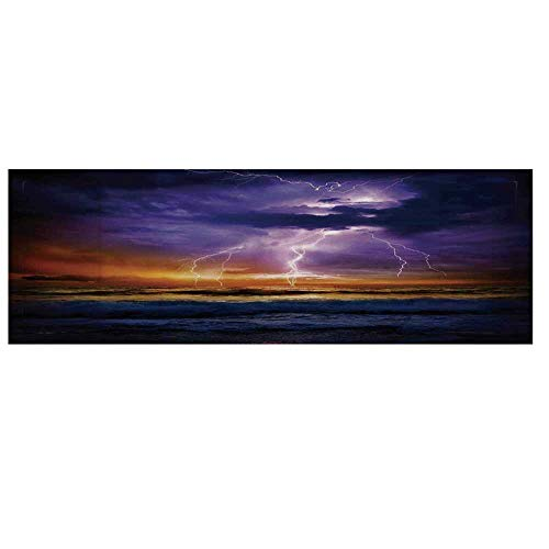 Lake House Decor Microwave Oven Cover with 2 Storage Bag,Epic Lightning and Storm on The Sea Wave Horizon Bad Weather Atmosphere Home Decor Cover for Kitchen,36