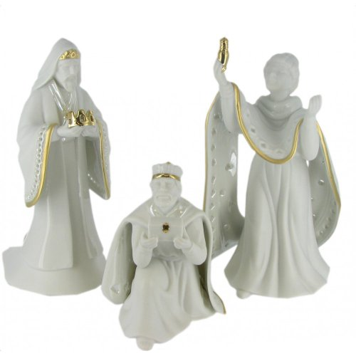 King of Kings Wisemen Gold Trimmed Porcelain - Wisemen Kings Three Three
