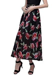 1441871J0CF252150RT High Waist Floral A Line Women Chiffon Skirt Color Black Size L
