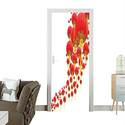 Homesonne 3D Photo Door Murals Shape Various Sized Many Lanterns Ballo Circle isan Golden Red Easy to Clean and applyW35.4 x H78.7 -