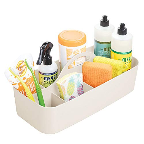 mDesign Plastic Portable Storage Organizer Caddy Tote, Divided Bin, Handle for Bathroom, Kitchen Laundry/Utility Closet - Holds Cleaning Supplies, Window Cleaner, Dust Cloths - Large - Cream/Beige ()