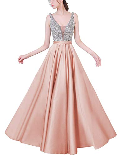 HONGFUYU Sleeveless Satin V Neck A Line Long Prom Dresses Beading Floor Length Evening Dress Pink-US12