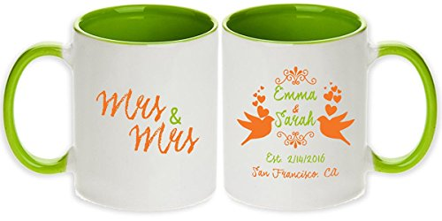Lesbian Wedding Gift - Personalized Pair of Love Birds Mrs & Mrs Pair Mugs (2pcs)