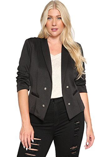 TheMogan+Women%27s+Double+Breasted+Tuxedo+Suiting+Blazer+Jacket+Black+1XL