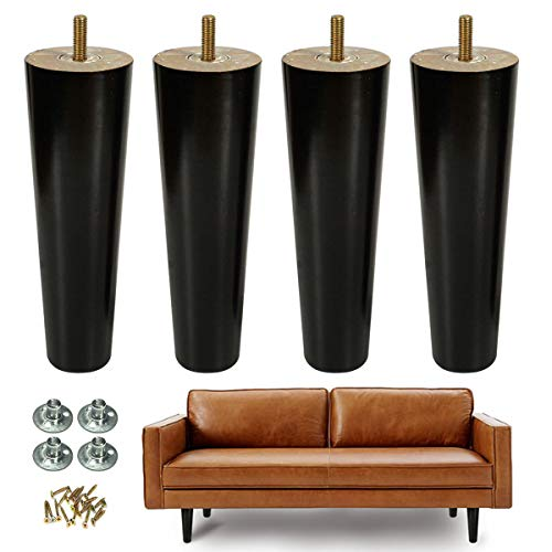 AORYVIC 8 inch Wood Furniture Legs Replacement Sofa Legs Pack of 4 for Couch Feet Chest of Drawers Cabinet DIY Furniture Project with Pre-drilled 5/16 Inch Bolt