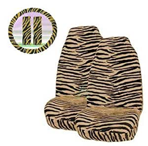-  5 Piece Universal Fit Tan Brown Zebra Tiger Print Front Bucket Seat Cover, Steering Wheel Cover and Shoulder Harness Seat Belt Covers