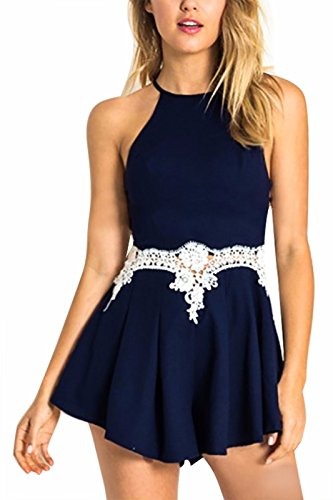 YOINS Women Sexy Crochet Lace Backless Halter Navy Cami Playsuit Romper Navy US 6