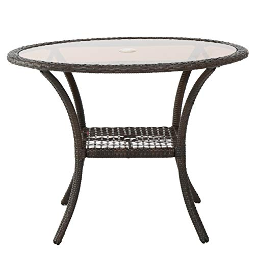 GDF Studio 298197 Ibiza Multi-Brown Wicker Glass Table, Color Multicolor