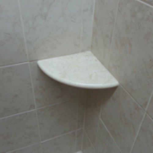 Marvelous Crema Marfil Marble Both Side Polished Bathroom Corner Shelf 9u0027u0027x9u0027u0027 By Tile  Spot     Amazon.com
