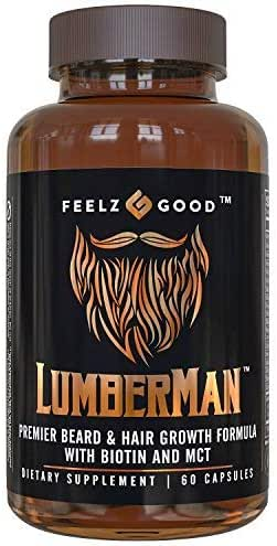Lumberman Premier Beard & Hair Growth Vitamin Formula - Stronger Healthier Hair. Hair Growth Supplement w/Biotin, MCT, Vitamin D3 & B5 Folate & More - Supplement for All Hair Types - Feelz Good