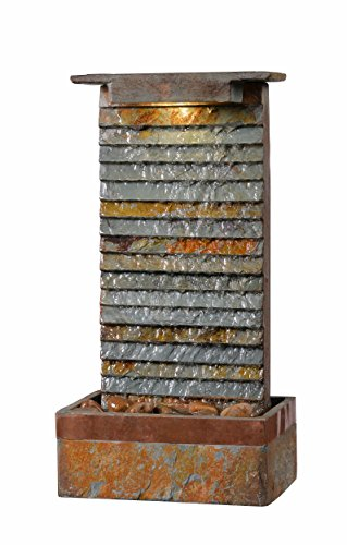 - Kenroy Home 51023SLCOP Stave Indoor/Outdoor Table Fountain with Light, Slate and Copper