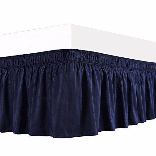 Cotton Detachable Bedskirt (Navy Blue Solid,King Size 22 Inch Drop - Wrap Arround Bed Skirt - Genuine Poly Cotton - Elastic Dust Ruffle Three Fabric Sides By Bhoomi Impex)