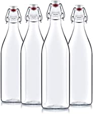 Bormioli Rocco Giara Clear Glass Bottle With Stopper [Set of 4] Swing Top Bottles Great for Beverages, Oil, Vi