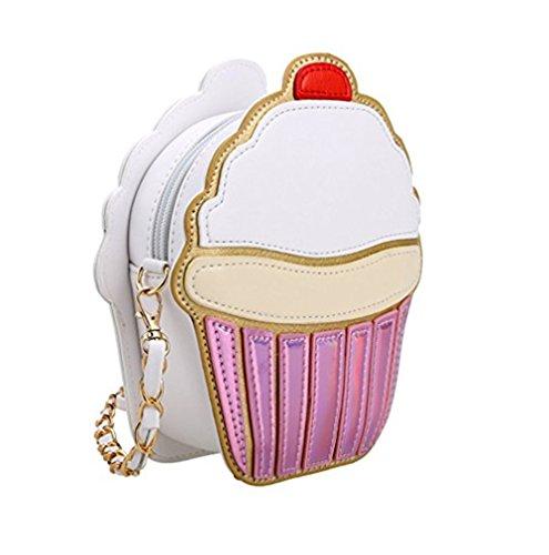 Cute Cartoon Women Ice Cream/Cupcake Shape Mini Shoulder Bag Metal Chain (cake)