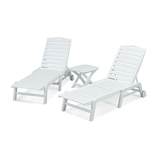 POLYWOOD PWS157-1-WH Nautical 3-Piece Chaise Set, White (Set Polywood Lounge)