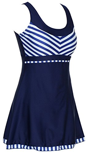 Women's One Piece Sailor Striped Swimsuit Plus Size Tankini Cover up Swimdress (Plus Size Suits)