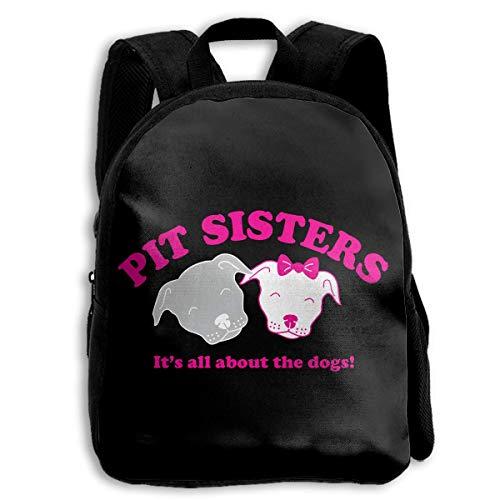 DKFDS Backpacks School Season Kids Backpack Bookbag,Child Pit Sisters �It's All About The Dogs Shoulder Bag
