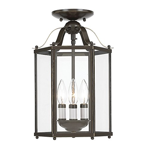 (Sea Gull Lighting 5231-782 Bretton Three-Light Semi-Flush Convertible Pendant with Clear Glass Panels, Heirloom Bronze Finish)