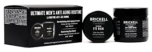 Brickell Men's Ultimate Anti-Aging Routine - Anti-Wrinkle Night Face Cream and Eye Cream to Reduce Puffiness, Wrinkles, Dark Circles, Under Eye Bags - Natural & Organic (Unscented) ()