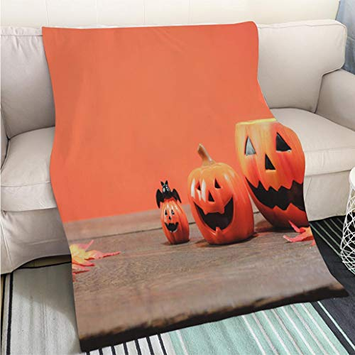 Creative Flannel Printed Blanket for Warm Bedroom Items or Happy Halloween festival conceptThe essential several accessory for the seasonHead jack lantern and Sofa Bed or Bed 3D Printing Cool quilt ()