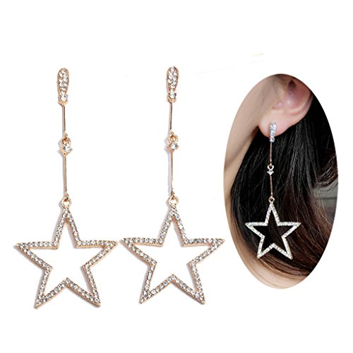 Dream Date 21 Big Shinning Diamond Mounted Star Hollow Out Golden Dangle&Drop Earring | Dating&Party Jewelry (Gold) - Date Flowers Earrings