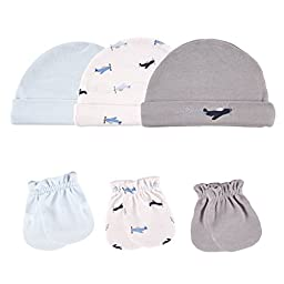 Luvable Friends 6-Piece Cap and Scratch Mittens Set, Airplane
