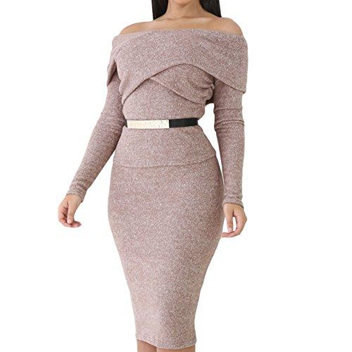 GERGER BO Mother's Day Heather Brown Foldover Shoulder Long Sleeve Skirt Set(S) (Superhero Homemade Costumes For Girls)