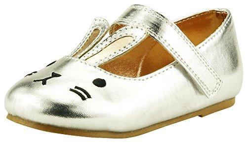 The Doll Maker Bunny Face Flat-TD181010B-10 Silver (Footwear Fabric Silver)