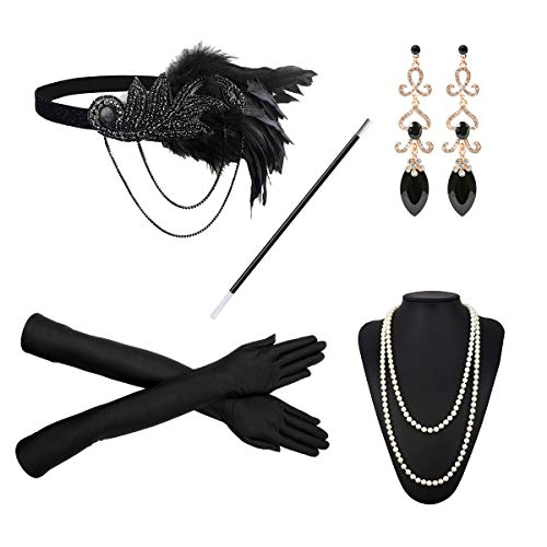 1920s Flapper Costume Accessories Set 20s Gatsby Pearl
